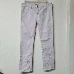 🐘 !iT White gray pin stripe jeans 6/8 29/30